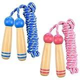 2 Piezas Comba de Salto para Niños, Ajustable Cuerda para Saltar con Cómodo Mango de Madera para Niños y Niñas Escolar Entrenamiento Deportivo Actividad al Aire, 245cm (Azul y Rosa)