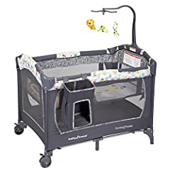 Removable full size bassinet Handy Diaper stacker and mobile One hand locking mechanism Easy to move with locking wheels Easy compact fold Care: Use only household mild soap and warm water. Do Not Use Bleach. Do Not Machine Wash.