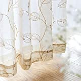 Embroidered Sheer Curtains for Living Room 84 inch Long Geometric Leaf Embroidery Voile
