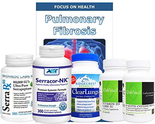 Lung - Pulmonary Support Bundle (5 Bottles) Serracor-NK 300caps - Systemic Proteolytic Enzymes, Serra-Rx 80,000 SU 180caps Enteric-Coated Serrapeptase, Clear Lungs 120caps, NAC 90caps & Vit. D3 60caps