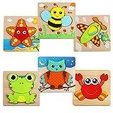 Puzzles de Madera de Animales,6 Pack Puzzles de Madera Educativos Juguetes Bebes,Colorido Rompecabezas de Animales 6 Piezas niños Juguetes de Inteligencia Rompecabezas