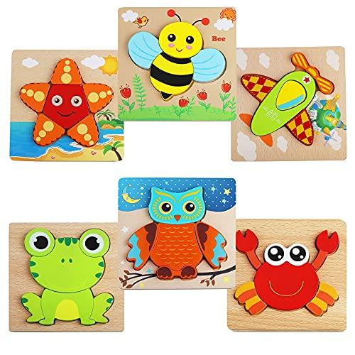 Puzzle in Legno per Bambini 1 2 3 4 anni, 6 Pezzi 3D Animali Puzzle in legno, Giocattoli Educativi, Adatto per Interni ed Esterni