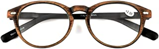 Qi Song Retro Woodgrain Print Oval Frame Reading Glasses Unisex Quality Readers
