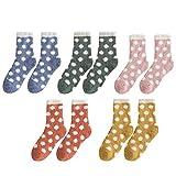 KESYOO 5 Pares de Calcetines de Felpa Calcetines de Dormir Difusos Medias de Microfibra Esponjosas con Estampado de Puntos Regalos para Niñas Niños Fiesta de Invierno en Casa