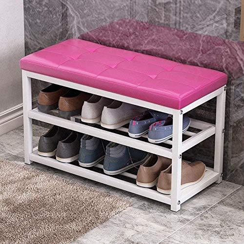 ZQJKL Plegable Banco De Almacenamiento De Zapatos Gabinete De Estante Organizador De Zapatos con Asiento Acolchado con Cojín para Pasillo De Entrada y Sala De Estar 70 X 30 X 45 Cm,Pink