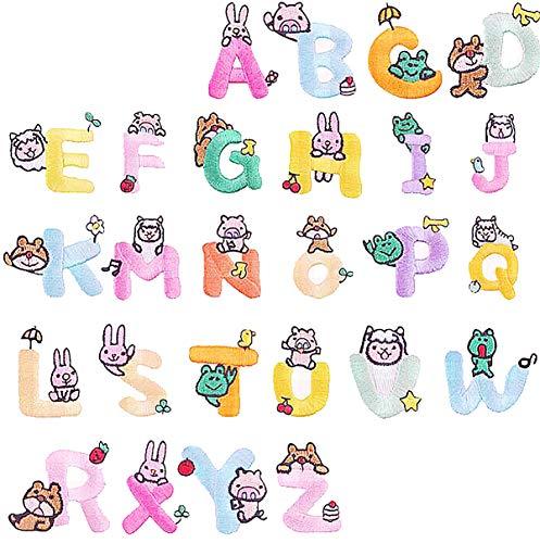 Liuer 52PCS Parches para Ropa Termoadhesivos Coloridas Letras del Alfabeto A-Z Hierro en parches Ropa Parches para Vaqueros,Chaquetas,Camisetas,Ropa de Niños,Bolsas,Gorras