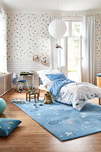 Esprit home I Moderner, kuscheliger, Kurzflor Kinderteppich, Kinderzimmer I Han I ESP-4245-01 I Blau I (170 x 240 cm)