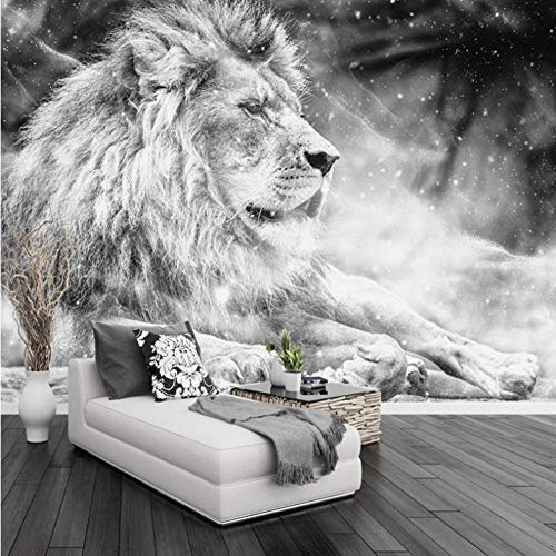 Fotobehang leeuw, dierlijke muur muurschildering 3D niet-geweven moderne huisdecoratie voor slaapkamer badkamer 200x140cm