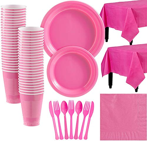 Amscan Bright Pink Plastic Tableware Kit for 50 Guests, Party Supplies, Includes Table Covers, Plates, Cups and More