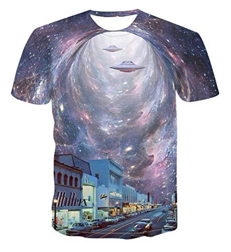 Sport E Tempo Libero Uomo T-Shirt A Maniche Corte Girocollo Stampata in 3D Alien Spaceship 3D-Men_S