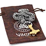 NICEWL Cabeza de Lobo Doble con Collar Colgante de Oro con Martillo Mjolnir Thor,Mitología Vikinga Odin Ravens Amuleto,Cadena de Acero Inoxidable para Hombres,Style 1,60CM