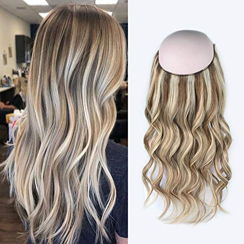 Sassina Halo Hair Extensions Human Hair One Hairpiece for a Full Head with Invisible Fish Line Highlight Ash Blonde to Platinum Blonde P8/60# 20 Inch 120 Gram
