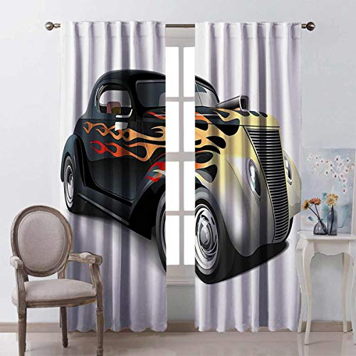 Toopeek Vintage Bedroom Rod Pocket Blackout Curtains Retro 40s Fashionable Drag Car with Ombre Flames Print Artwork Living Room Color Curtains 2 Panels W52 x L54 Inch Black Silver Red and Orange