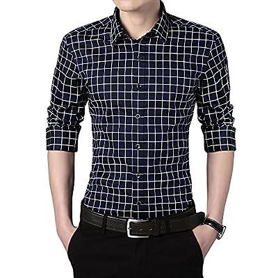 Men's Plaid Long-Sleeve Button Down Dress Shirt