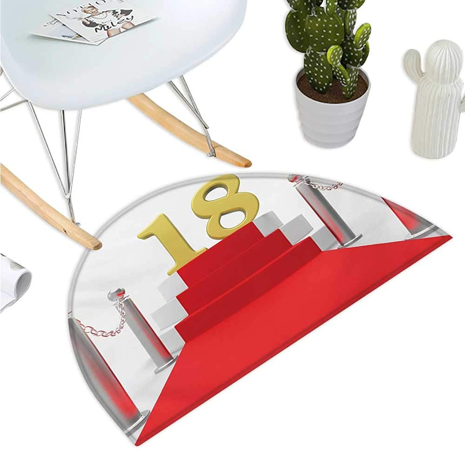 18th Birthday Semicircular Cushion Hollywood Greeting for a 18 Year Old Star Party Red Carpet Image Bathroom Mat H 47.2  xD 70.8  Red Silver and White