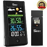 2020 Version Wetterstation Funk mit Außensensor Wettervorhersage, Digitaler Thermometer Hygrometer für Innen Außen, Alarm Snooze, 3 Außenkanäle Farbdisplay LCD Bildschirm