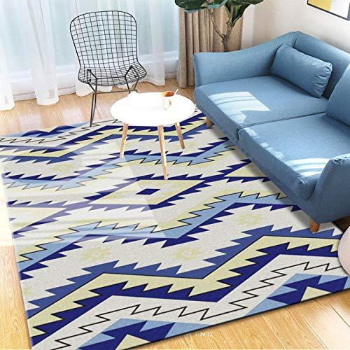 GBFR Alfombras grandes para sala de estar, abstracción, alfombra de mostaza, tradicional, sala de estar, dormitorio, estudio, exterior, comedor, baño, zigzag, azul, 40 x 60 cm
