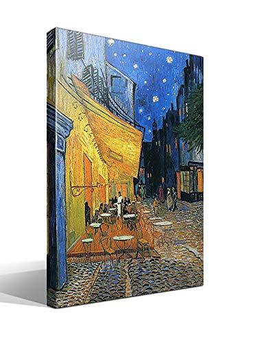 Canvas lienzo bastidor Terraza de un Cafe en la Plaza Forum de Arles por la Noche de Vincent Willem van Gogh - 55cm x 75cm - Imagen alta resolucion - Fabricado en Espana