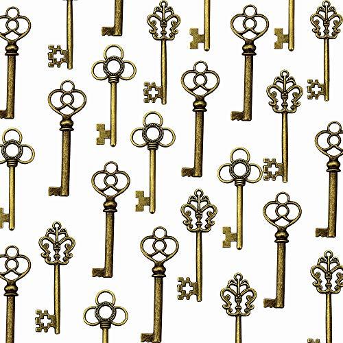 LolliBeads (TM) Mixed Set of 30 Large Skeleton Keys in Antique Bronze - Set of 30 Keys