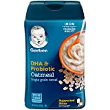 Gerber Baby Cereal DHA & Probiotic Oatmeal Baby Cereal, 8 Ounces (Pack of 6)