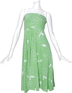 (ムームーママ) MuuMuuMama 総柄2WAYドレス スカート プルメリア セージ×白