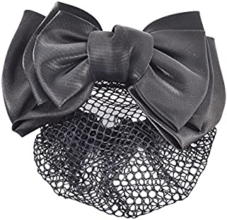DealMux Nylon Bowknot Shape Decor Women Snood Net DIY Hairstyle Hairdressing Holder Hair Clip Hairnet Black