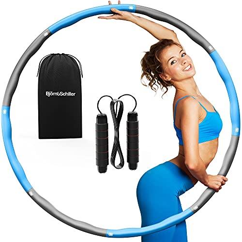 SET: Hula Hoop Reifen Erwachsene, 8-teilig 95cm (Normal), Blau-Grau + Springseil individuell kürzbar + Tragetasche, Fitnessreifen zum Abnehmen, Hula-Hoop-Reifen, Fettverbrenner, Sportgeräte zuhause