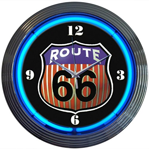 Neonetics Cars and Motorcycles Route 66 Round Neon Wall Clock, 15-Inch