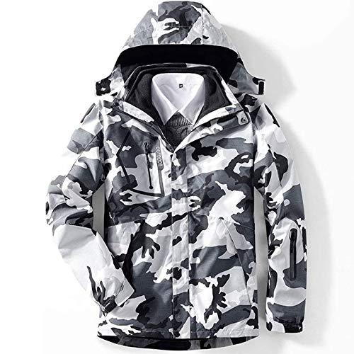 RSTJ-Sjcw Männer 3 in 1 Skijacke Wasserdichten Snowboard-Jacke Insulated Fleece-Jacke Winter-Schnee-Mantel,Camouflage Black White,XL