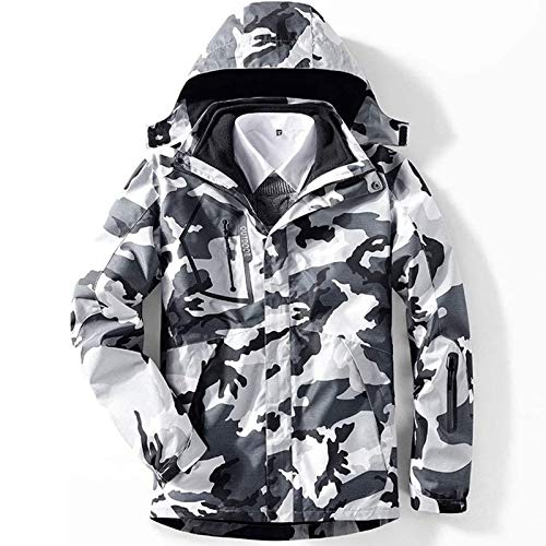 Balscw-F Men's 3 in 1 Ski Jacket Waterproof Snowboarding Jacket Insulated Fleece Jacket Winter Snow Coat,Camouflage Black White,4XL