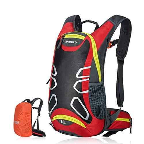 RXLLSY Mochila Impermeable para Hombre Bolsa Ultraligera para Senderismo Camping Ciclismo al Aire Libre Hidratación con Fundas para la Lluvia, 15L,Rojo