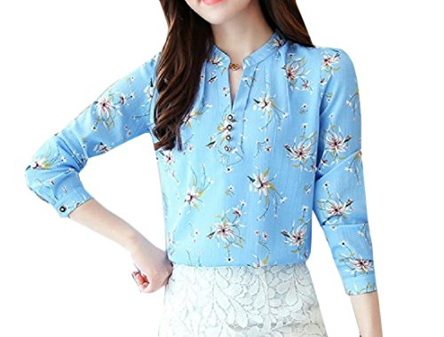 Aooword dames clothes lange mouwen loose fit top streep bloemenprint Vogue blouse dames