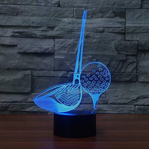 LLZGPZXYD 3D-led-nachtlampje, 7 kleurrijke verlichting, golfclubs, modelbouw, nachtlampje, touchscreen-schakelaar, tafellamp, voor golfers, geschenken, USB, kantoordecoratie Touch Switch