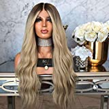 Iusun Curly Wigs,26'' Gray Women's Front Lace Long Beauty Wave Lace Inner Net Resistant Synthetic Wigs Full Hair Cosplay Costume Wigs Daily Party Anime Hair Wig High Temperature Fiber (Gray)