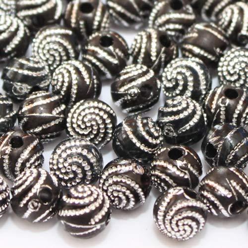 perlenundmehr Acrylperle Kugel schwarz mit Silber Muster 8mm (14039) 80Stk.