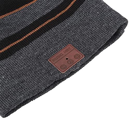 FOLOSAFENAR Sombrero inalámbrico para Auriculares BT Código de Inicio rápido Full-Duplex BT Music Hat Bluetooth 4.2 cálido Calentar(Hemp Gray + Black)