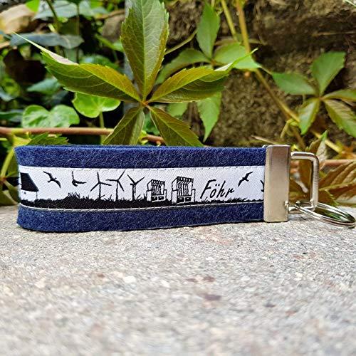 Schlüsselanhänger Schlüsselband Wollfilz dunkelblau Webband Föhr schwarz weiß Geschenk