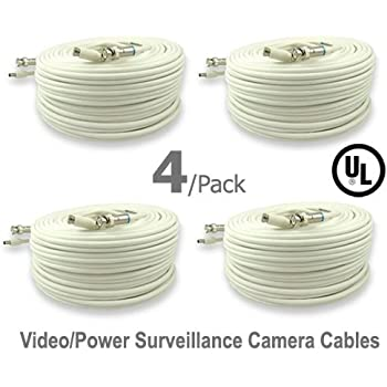 10 Pack UL Listed 25 ft Feet Professional Grade RG59 siamese combo cable for TVI CVI AHD and HD-SDI camera system with BNC connectors and 2.1mm power jack for plug and play connections
