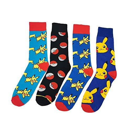 MIZZM Herren Kleid Funny Socks 4 Paar Cool Colourful Fancy Novelty Casual Cotton Socken Set Schöne Pikachu gemusterte Mid Calf Socken