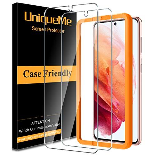 UniqueMe [2 Pack] Vetro Temperato Compatibile con Samsung Galaxy S21 6.2 Pollici Pellicola Protettiva, [Bubble Free] [9H Hardness] Anti-Scratch [Protezione superiore]