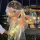 Swide Globos con Luz Led Globo Bobo Transparente Globo Luminoso con Rosa Led Globo Transparente con Decoración De Rosas Regalo para NavidadCumpleañosDecoración De Fiesta De Boda Chic