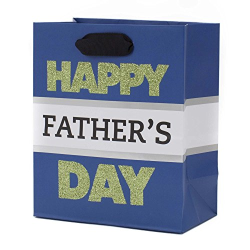 Hallmark Father's Day 6' Small Gift Bag (Green Glitter on Blue)