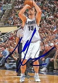 Autograph Warehouse 54031 Mehmet Okur Autographed Basketball Card Utah Jazz 2008 Upper Deck No .191