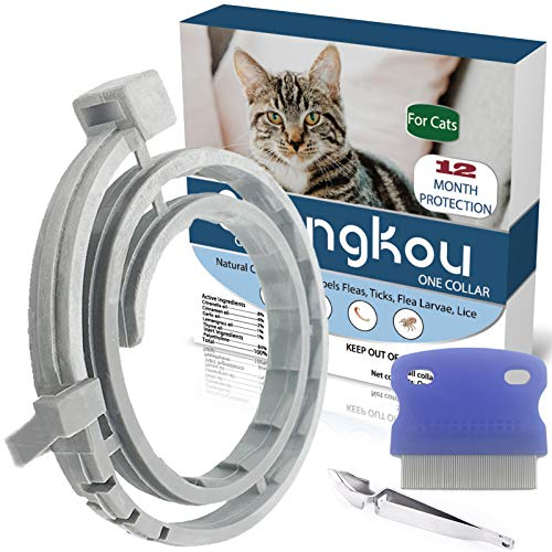 Flea and Tick Collar for Cat, Made with Natural Plant Based Essential Oil, Safe and Effective Repels Fleas and Ticks, Waterproof, Fits Cat and Small Dog