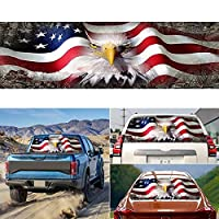 アメリカの国旗イーグルリアウィンドウデカールTrucks Suvピックアップ、高精細プリントグラフィックトラック窓デカール愛国心のステッカー 147*46 cm/58*18 inch