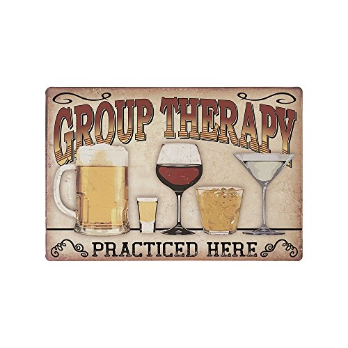 Decorative Kitchen Signs, Metal 9x12 Wall Signs, 'Group Therapy Practiced Here' Kitchen Signs, Vintage Wall Decor for Home