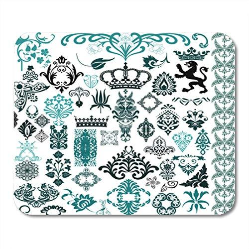 Semtomn Gaming Mouse Pad Muster Retro viktorianischen Vintage ethnische arabeske Blume Barock geometrische Dekor Büro rutschfeste Gummi Backing Mousepad Mouse Mat