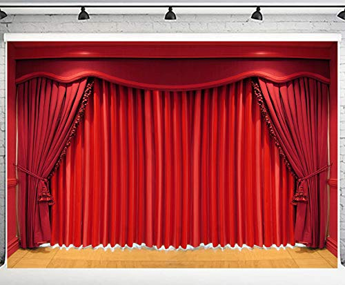 PHMOJEN Theater Interior Curtain Photography Backdrop Wooden Stage Background Vinyl 10x7ft Photo Booth Studio Props XCPH524