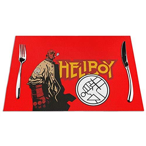 VOROY Hell-Boy - Manteles individuales cuadrados para decoración de mesa de comedor,...