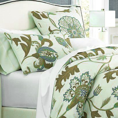 Great Features Of Crewel Pillow Euro Sham Giverny Green Tones on Ivory Cotton Duck (26X26)